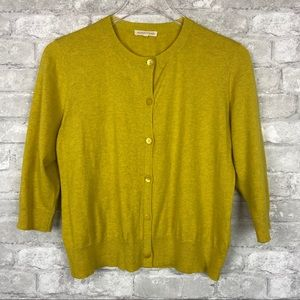 Eileen Fisher Chartreuse Button Front Cardigan